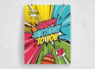 Comic Style Happy Birthday Template