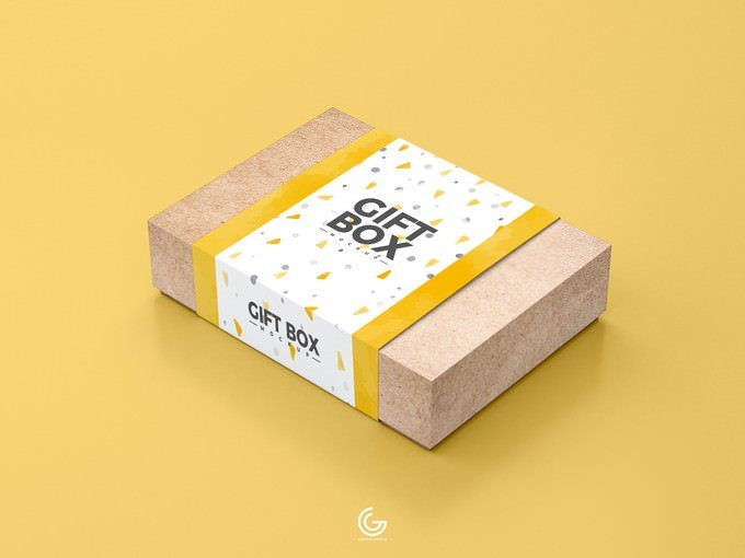 Craft Paper Gift Box Mockup