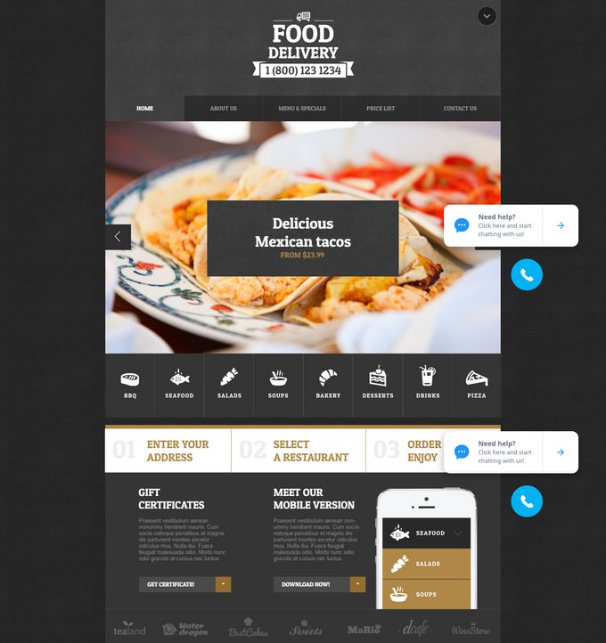 Creative Food Delivery Website Design in Black