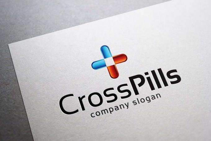 Cross Pills Logo Template