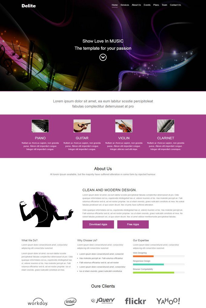Delite Bootstrap HTML Music Website Template