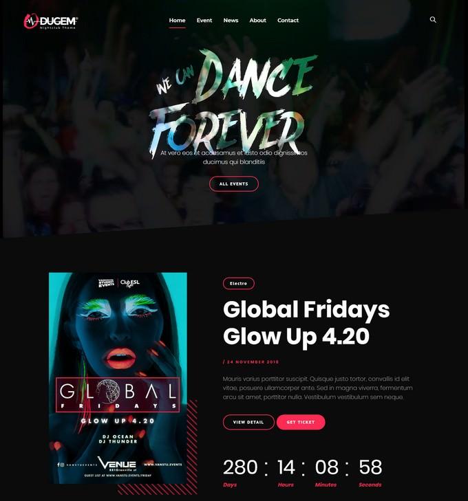 Dugem Dance Night Club WordPress Theme