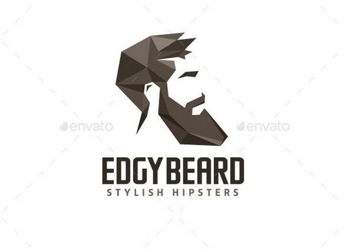 Edgy Beard Hipster Logo Template