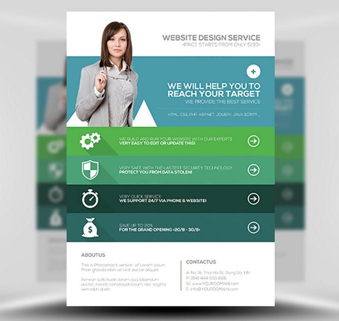 Flat Style Web Agency Flyer