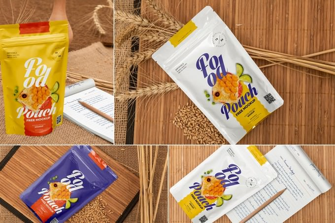 Food Pouch Mockups PSD