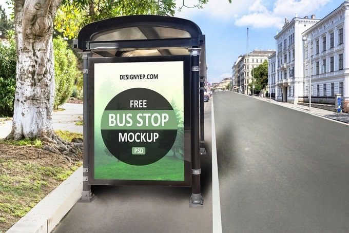 Bus Shelter Mockup PSD