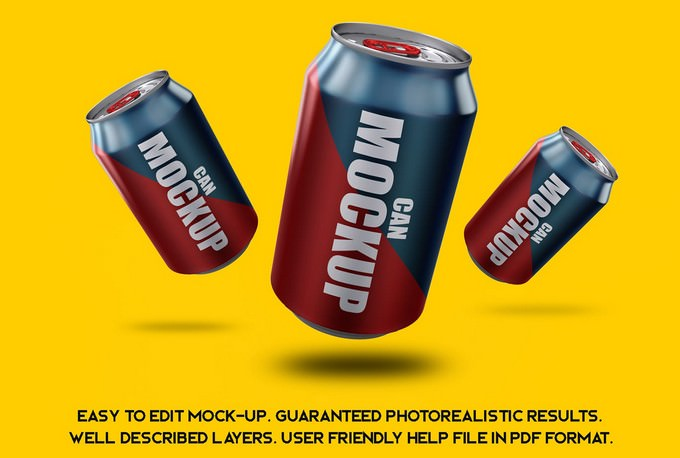 Free Can Mockup PSD