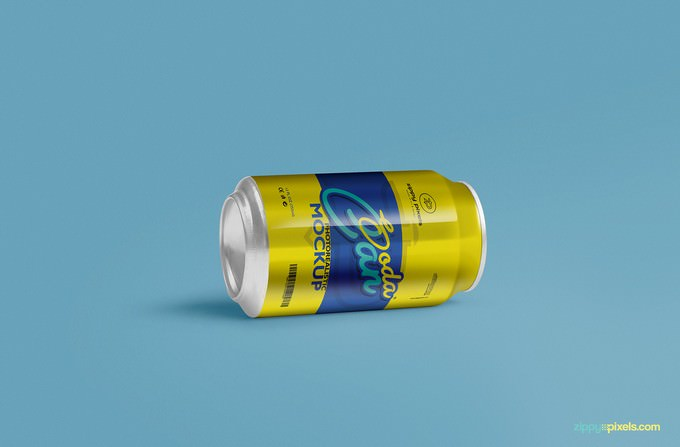 Cool Soft Drink Can Mockup PSD