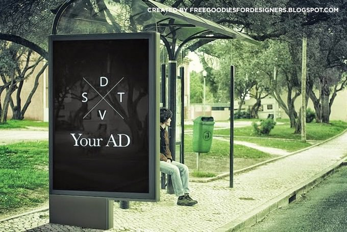 Psd Billboard Ad Mockup Busstop