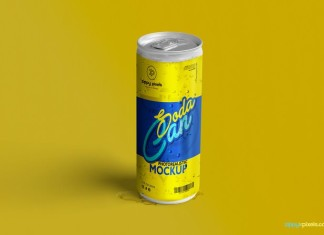 Refreshing Soda Can Mockup