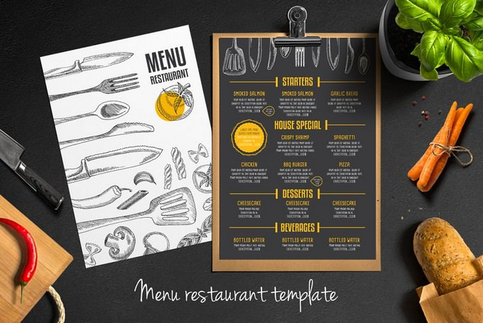 Free Trifold + Food Menu Template