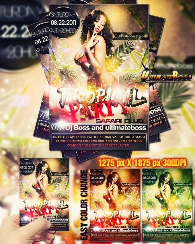 Freemium Tropical Party Flyer PSD