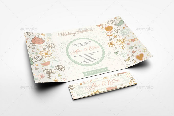 Gatefold Wedding Invitation Mockup PSD
