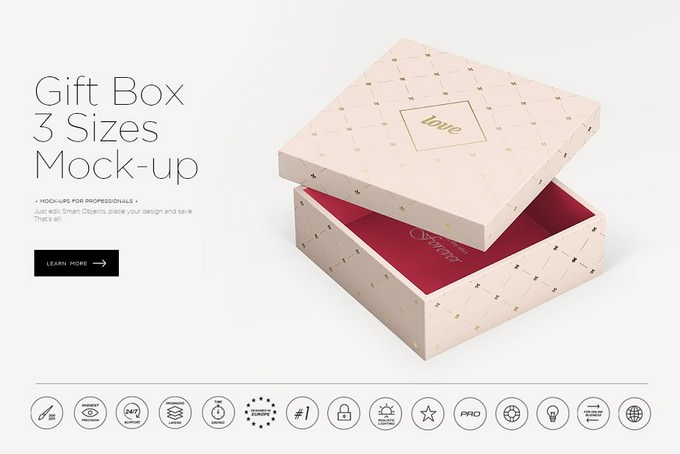 Gift Box 3 Sizes Mock-up PSD