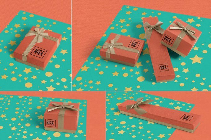 Gift Box Mockups PSD