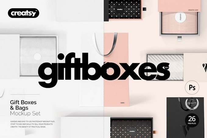 Gift Boxes and Bags Mockup PSD