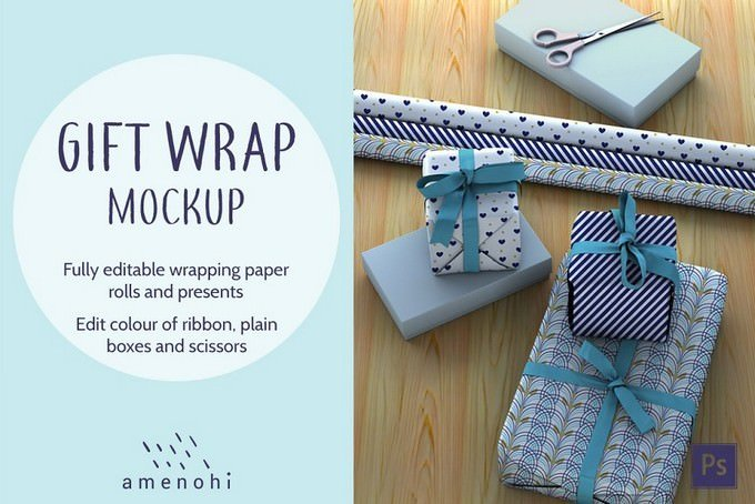 Gift Wrap and Presents Mockup PSD