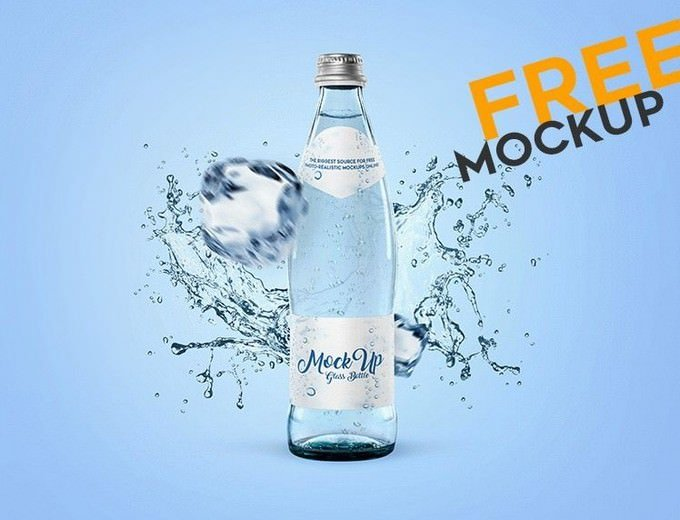 Glass Bottle for Water PSD Mockup
