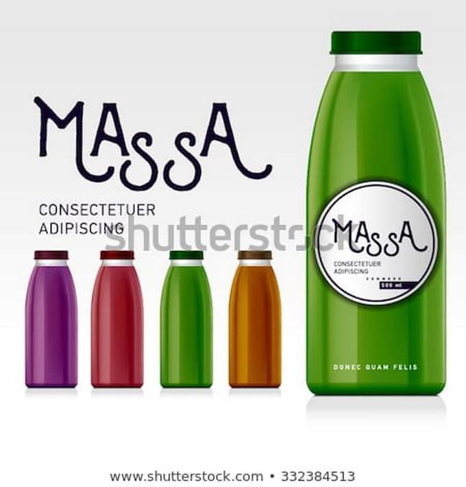 Glass Bottle of Juice Mockup