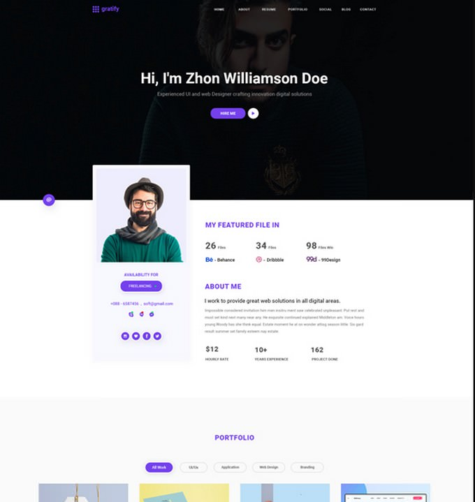 Gratify Resume - cv WordPress Theme
