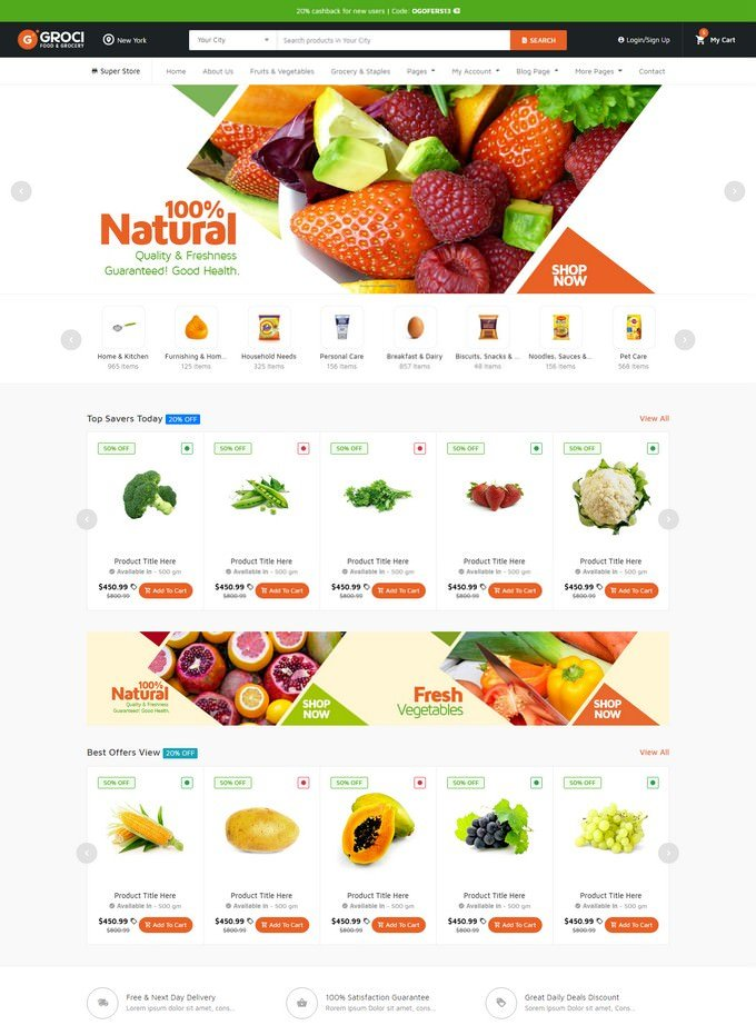 Organic Food & Grocery Market Template