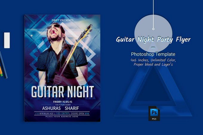 Guitar Night Party Flyer PSD