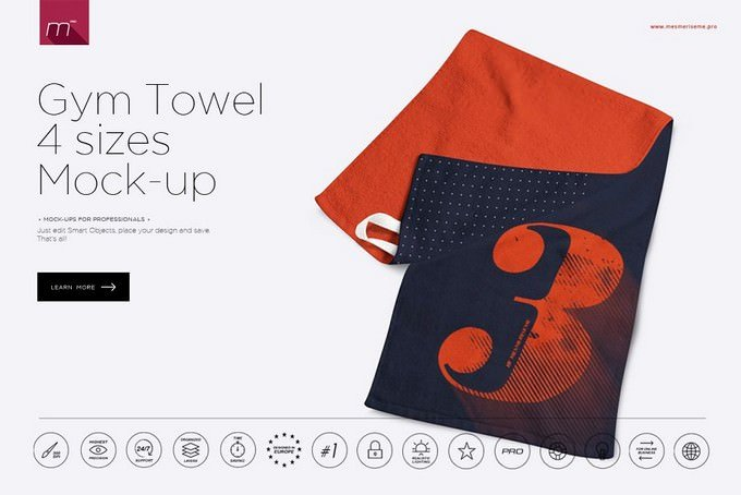 Gym Towel Mock-up PSD