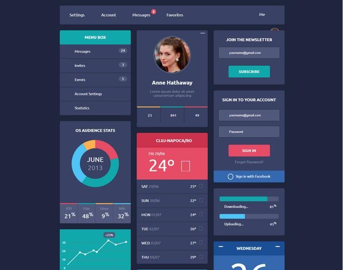 HTML 5 & CSS3 Freebie Interactive Flat Design UI
