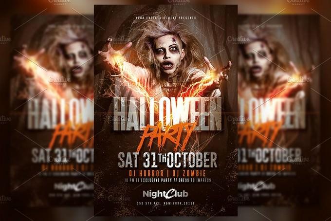 Halloween Party Zombie Flyer