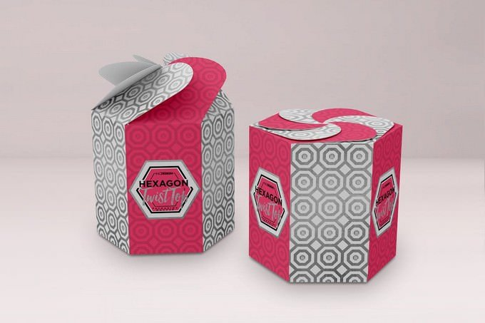 Hexagon Twist Top Candy Gift Box Packaging Mock Up PSD