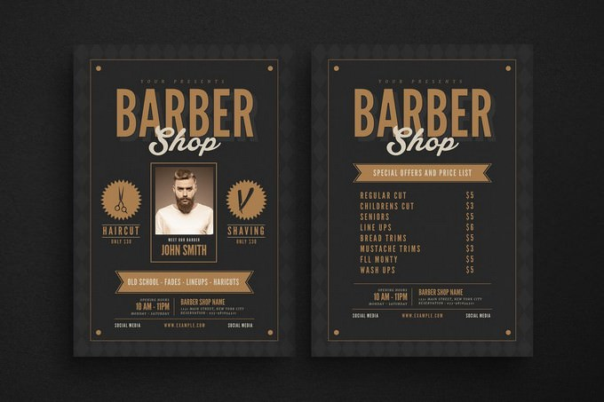 Hipster Barbershop Flyer Template