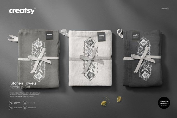 Kitchen Towels Mockup PSD