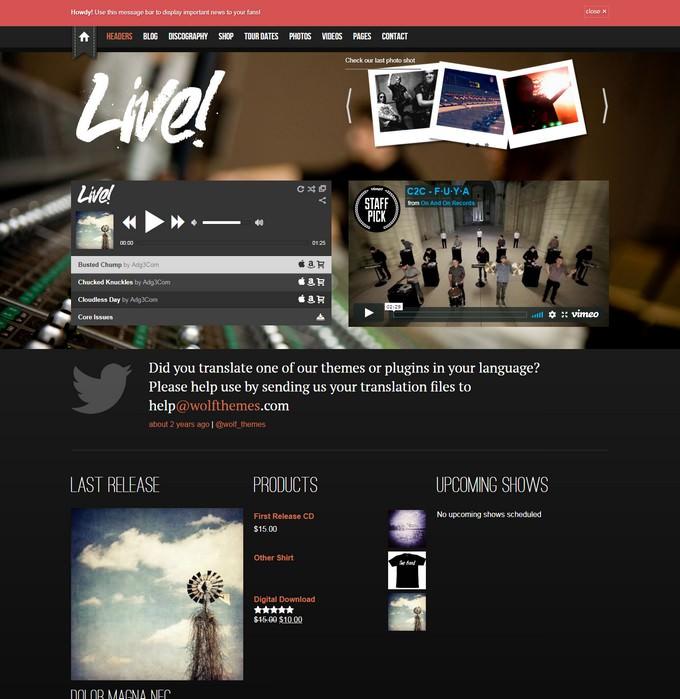 Live Music WordPress Theme