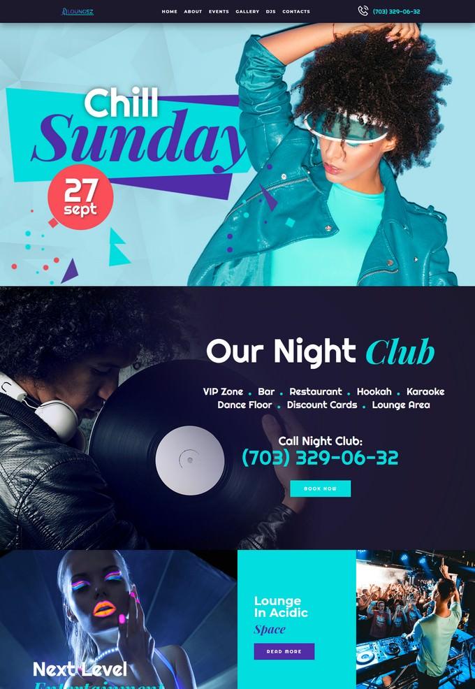 Loungez Night Club Elementor WordPress Theme