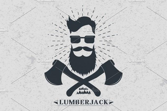 Lumberjack label Logo Template