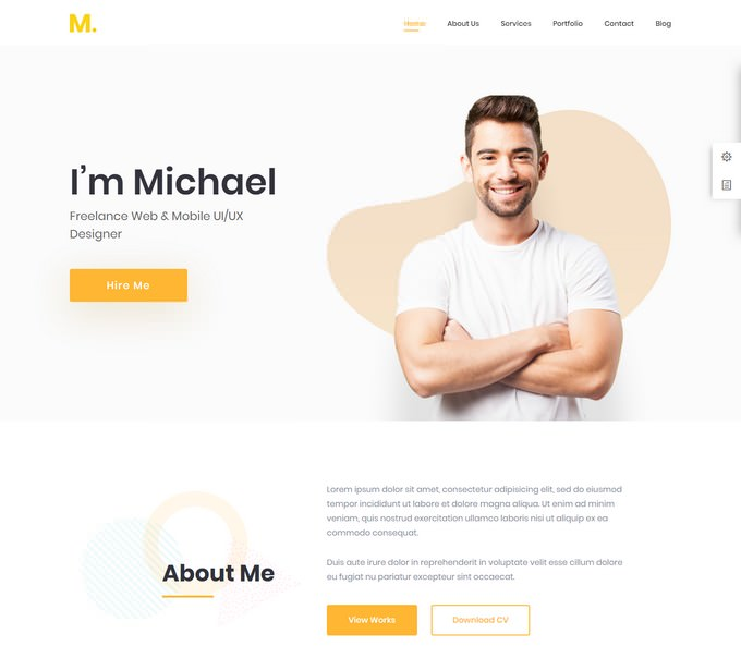 Personal Portfolio & Resume WordPress Theme