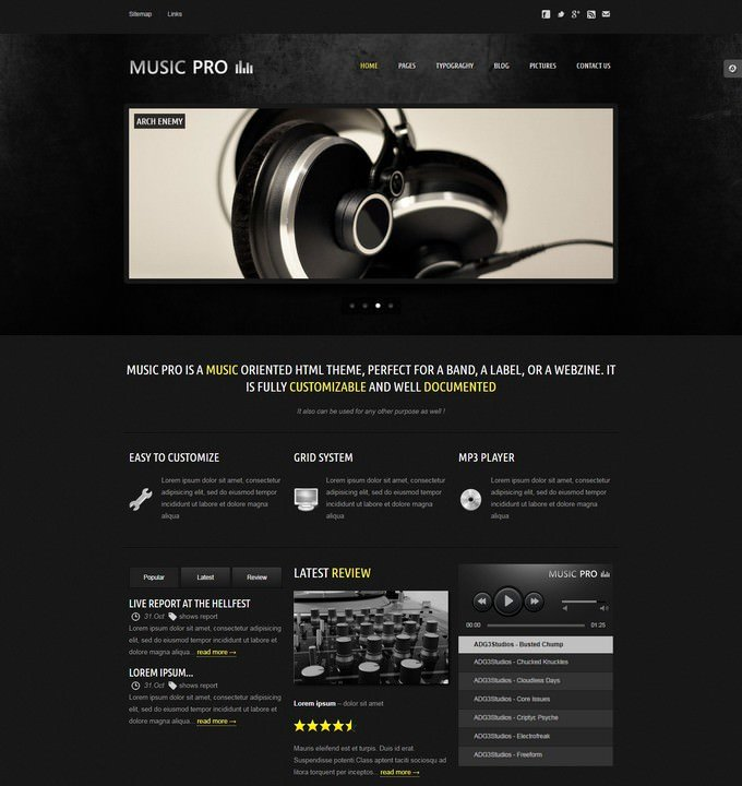Music Pro Music Oriented HTML Template