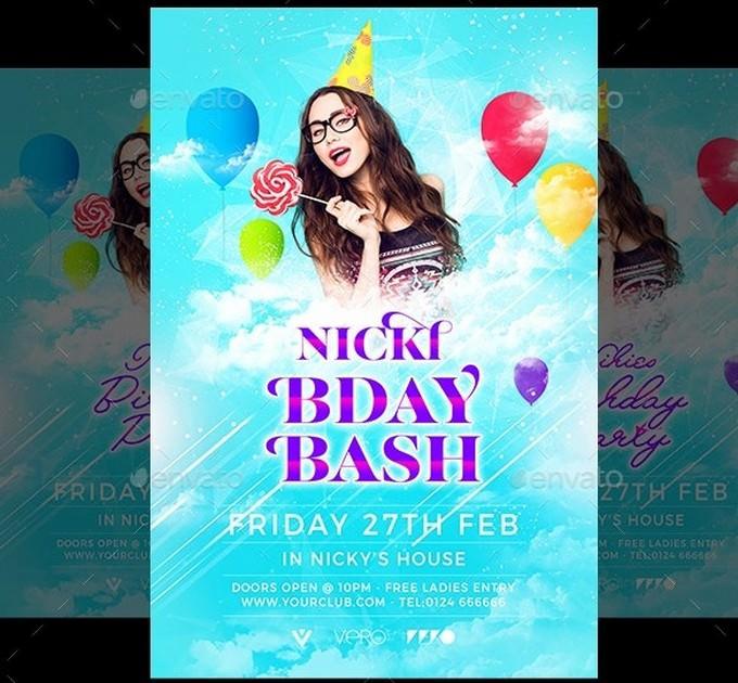 Nickl Birthday Party Flyer PSD