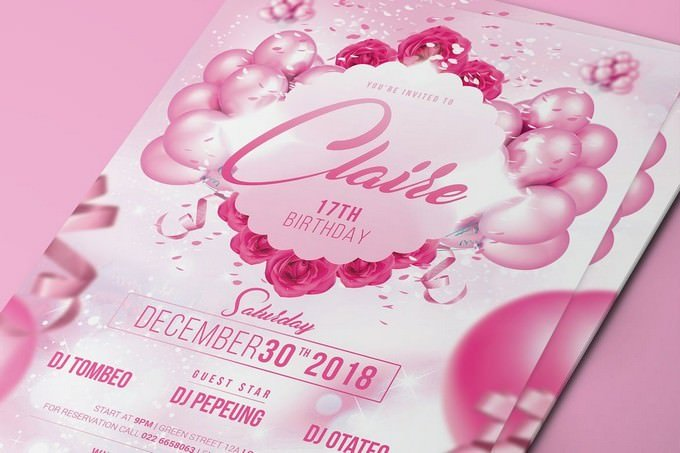 Pink Birthday Party Flyer PSD