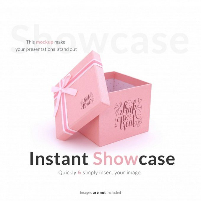 Pink Gift Box Mock up Psd