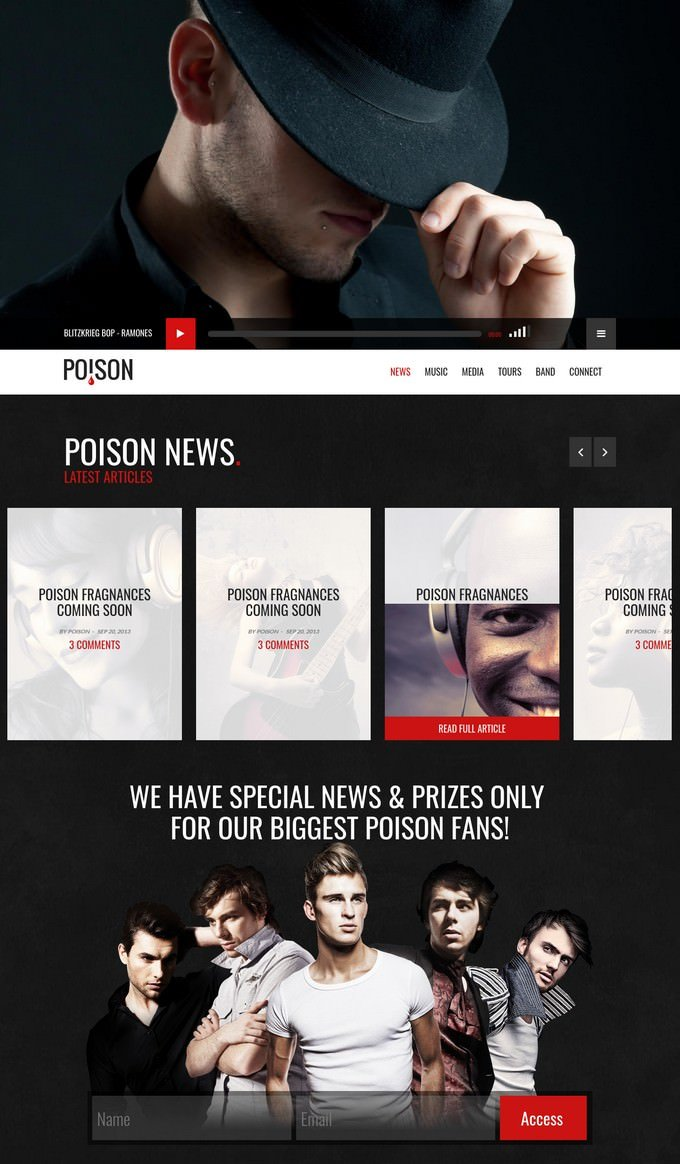 Poison Music HTML One Page Template