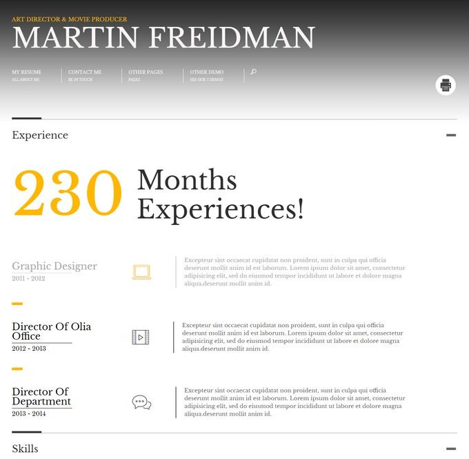 Promotion Animated CV Resume Theme