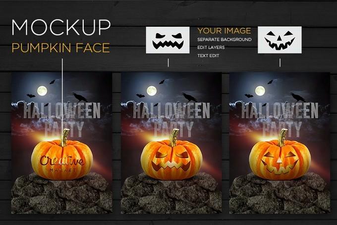 Pumpkin Face Mockup Halloween