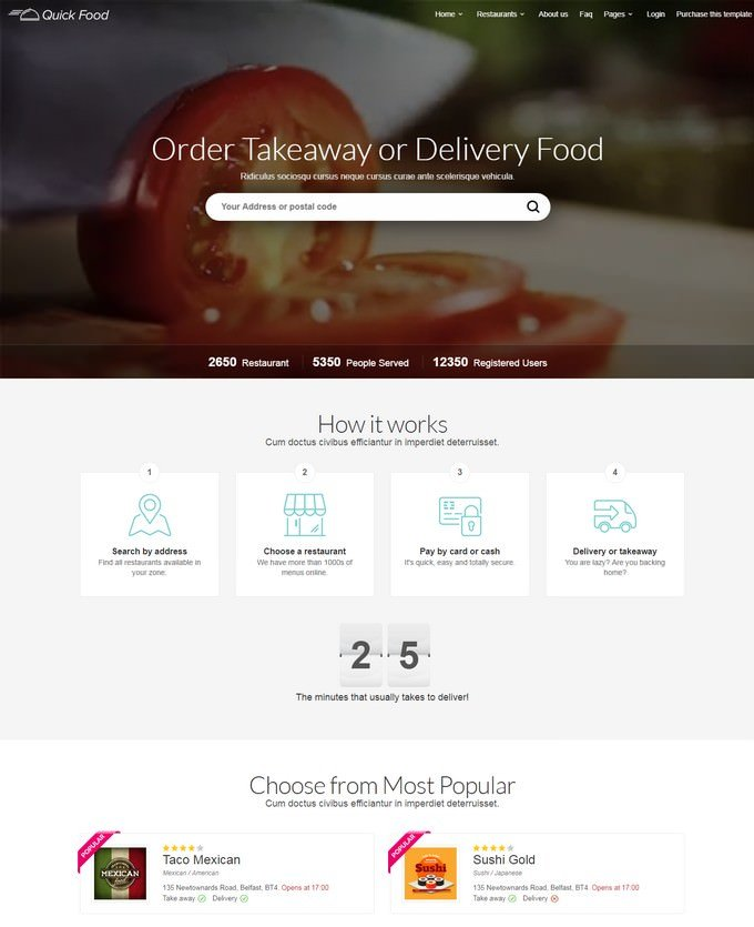 Delivery or Takeaway Food Template