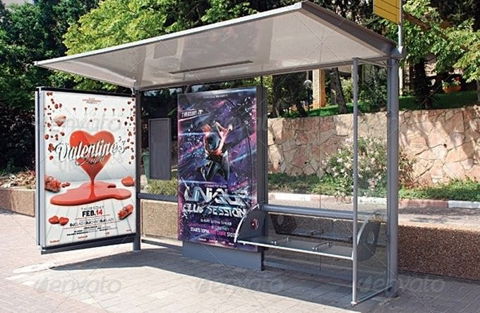 Realistic Bus Stop Flyer Poster Mockup PSD