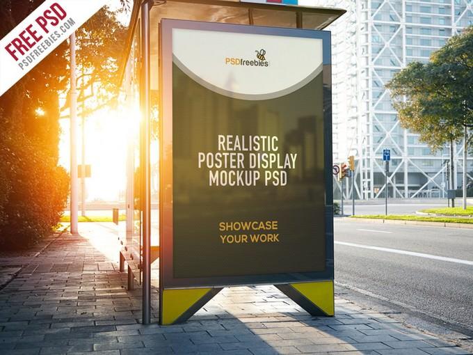 Realistic Poster Display Mockup PSD