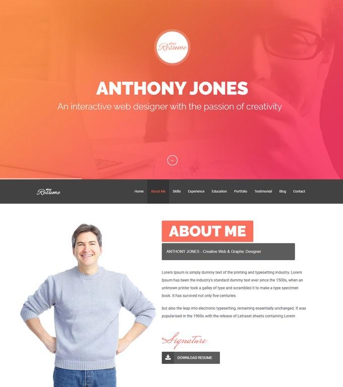 ResumeX Resume & One Page Portfolio