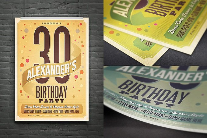 Retro Birthday Flyer PSD