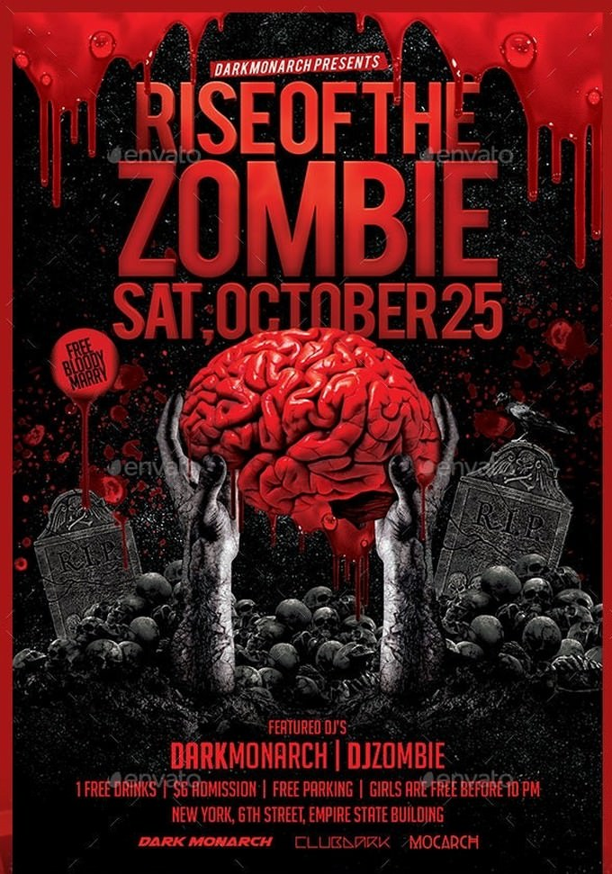 Rise Of The Zombie Party Flyer