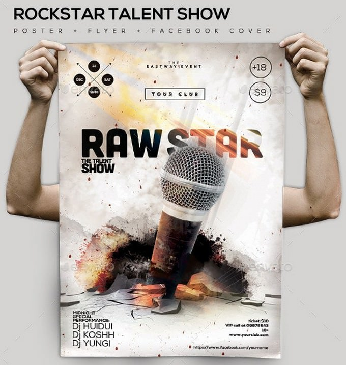Rock-Star Talent Poster Facebook Cover Flyer Template